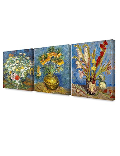 DecorArts - Triptych (Van Gogh Flower Series) , Vincent classic Art Reproduction. Giclee Canvas Prints Wall Art for Home Decor 24x30