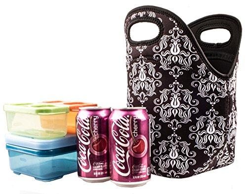 Damask Neoprene Lunch Tote Bag Insulated Waterproof