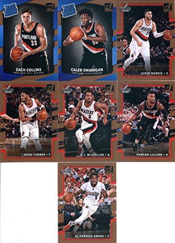 2017-18 Donruss Basketball Portland Trail Blazers Team Set of 7 Cards: Al-Farouq Aminu(#121), Damian Lillard(#122), C.J. McCollum(#123), Evan Turner(#124), Jusuf Nurkic(#125), Caleb Swanigan(#175), Zach Collins(#191)