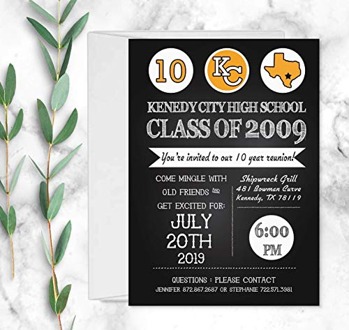 Set of 10 High School Reunion or Family Reunion Invitations with Envelopes