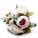 Zippersell Bridal Wedding Bouquet,Artificial Bridal Bride Brooch Bouquets,Handmade Vintage Rustic Style Satin Roses Wedding Flower D639 Review