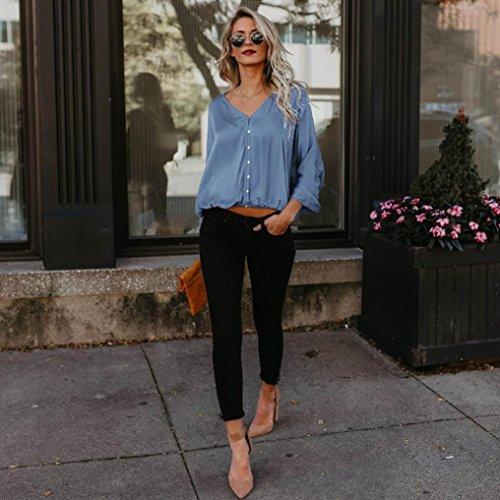 Tops Lunghe Camicette Pullover ABCone Casual Elegante Camicie con Cappuccio Shirt Blu Autunno T Maniche Donna Felpa n81q1wxFC6