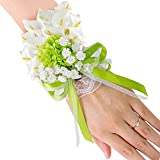 Topdo Adult Wrist Corsage Sen Fresh White Green Calla Brooch Wrist Flower Groom Bride Groomsmen Bridesmaid