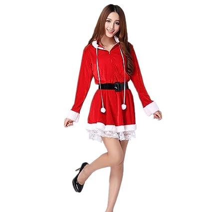 Kenmont Mujeres Santa Claus Cosplay Disfraz Bodycon Rojo Mini Vestidos Navidad con capucha Conjunto de disfraces