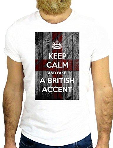 T SHIRT Z0627 KEEP CALM I'M I HAVE A BRITISH ACCENT COOL UK LONDON FUN NICE GGG24 BIANCA - WHITE S