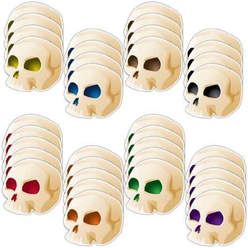 Halloween Skull Lawn Decorations Set of 36 w/ 36 short (Skull Lawn Stakes)