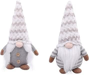TOYANDONA 2pcs Christmas Swedish Gnome Decoration Ornament Plush Scandinavian Santa Tomte Doll Figure Christmas Toy  Kids Adults Grey