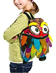TOP Asian Souvenirs Owl Backpack Adorable Patchwork L Size
