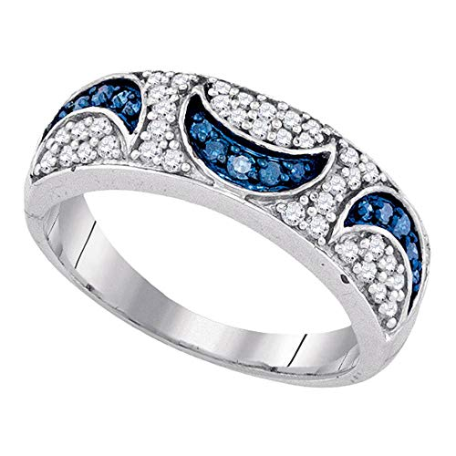 Blue Diamond Moon Ring Crescent Band Fashion Round Domed Style Womens Fancy .47ct 10k White - Ring Setting Moon Diamond Engagement