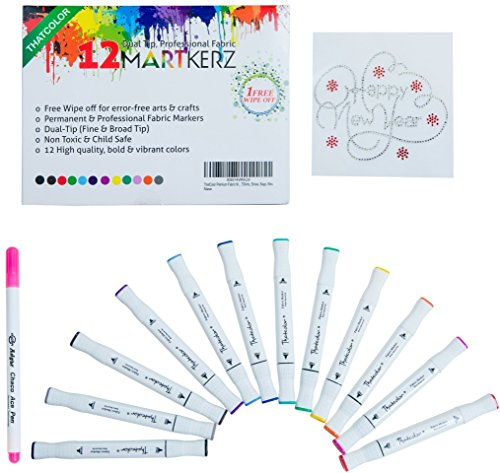 thatcolor-fabric-markers-bundle-with-12-dual-tip-non-toxic-permanent-fabric-pens-fabric-marker-for-s