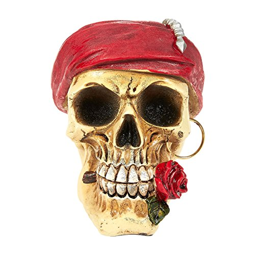 Skull Prop - Realistic Skull Model, Resin Skull Decoration, Romantic Pirate Skull Fake Skull, Birthday Parties, Interior Decor - 3.7 x 4.7 x 5.5 Inches (Mini Pirate Skull Figurine)