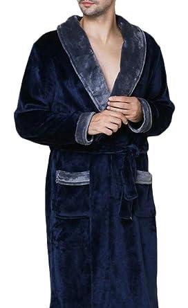 74326b62a9 Hajotrawa Mens Sleepwear Lounge Winter Flannel Thick Fleece Bathrobe Robe  Blue S