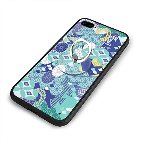 Beautiful Flowers Japanese Pattern iPhone 7/8 Plus Case Anti Scratch Shock-Proof Phone Case with Circular/Ring Bracket