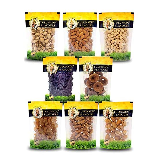 Tulunadu Flavours Dry Fruits Combo Pack 800gms, Cashew nut, Black Raisins, Golden Raisins, Almonds, Pista, Walnut, Afghani Apricot, Anjeer