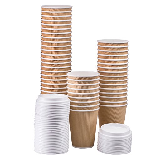 NYHI Set of 50 Ripple Insulated Kraft 12oz Paper Cups with 50 White Lids for Hot Drinks-Tea & Coffee (50, 12 Ounce)