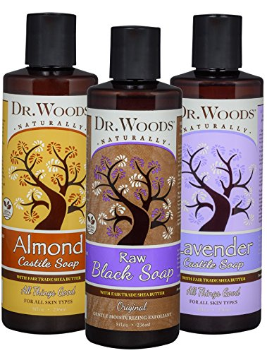 Dr. Woods Raw Relaxing Pure Liquid Castile Soap with Moisturizing Organic Shea Butter Variety (3 Assorted 8 Ounce Bottles)