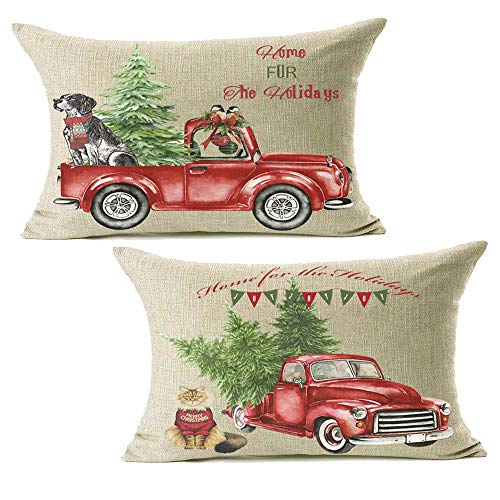 12x20 Christmas Throw Pillow Covers Set of 2, Decorative Farmhouse Outdoor Merry Christmas Xmas Cushion Lumbar Pillow Shams Cover Cases Red Truck Tree Dog Cat Couch Sofa