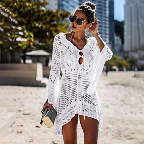Women Crochet Sunscreen Cover Up Bikini Swimwear Knit Beach Swimsuit Bandage