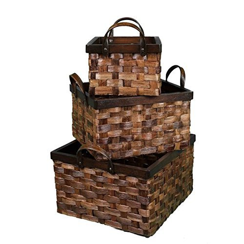 Charming And Durable BirdRock Home Cappuccino Abaca Flat Weave Nesting Baskets (Set of 3) by BirdRock Home