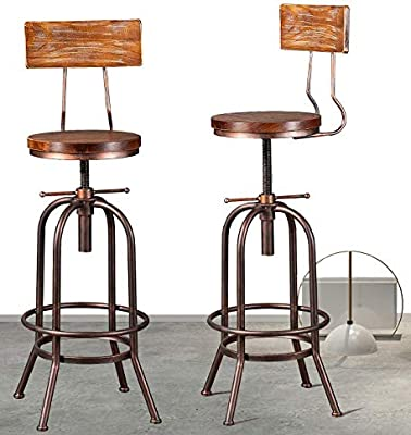Industrial Bar Stool Adjustable Swivel Round Wood Metal Stool Rustic Farmhouse Bar Stool Cast Iron Kitchen Stool Counter Height To Extra Tall Bar Height 28 34 Inch Backrest Fully Welded Set Of 2
