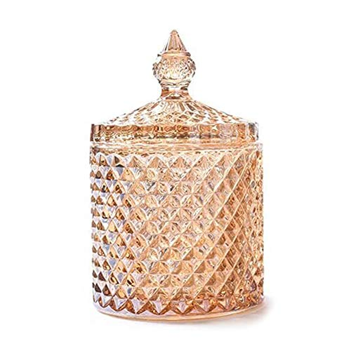 (Jitnetiy Diamond Faceted Decorative Candy Jar with Lid Crystal Storage Container for Food Storage and Organization (Amber))