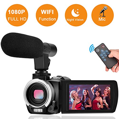 Digital WiFi Camcorder Video Camera with Microphone Full HD 1080p 30fps 24.0MP Vlogging Video Camcorder Recorder for YouTube Support Remote Controller Time Lapse