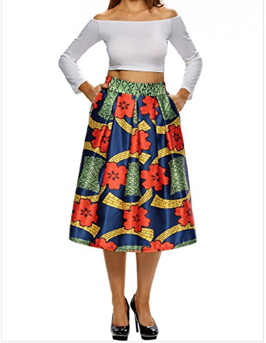 YeeATZ Vintage High Waist Africa Print A-lined Midi (Fat Cat Contemporary Throw)