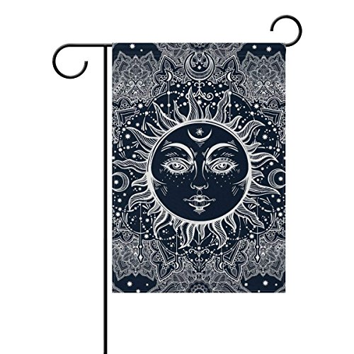 Floral Paisley Sun Face Polyester Fabric Garden Flags Outdoo