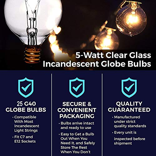 Afirst 25 Pack G40 Replacement Bulbs Fit E12/C7 Base,5 Watts,Clear Globe Bulbs Edison Light Bulb Warm White Glow for Outdoor String Lights.