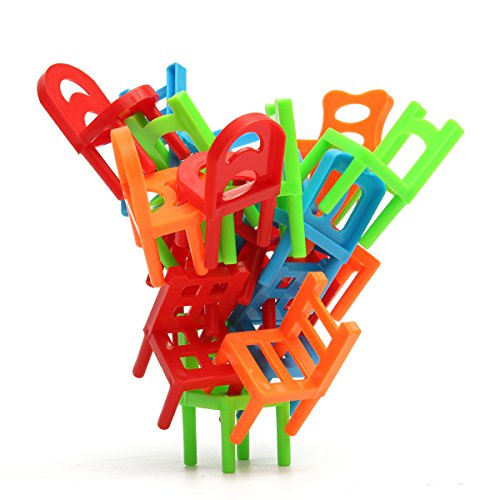 Developmental Toys - 18x Plastic Balance Toy Stacking Chairs Kids Desk Play Game Toys Parent Child Interact - Youngster Miniature Chairwoman Tyke Plaything Chairperson - 1PCs
