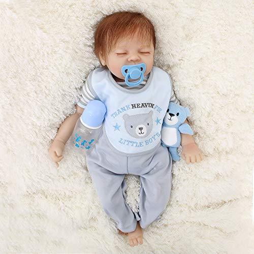 OtardDolls No.1 Realistic Cute Rebirth Baby Doll Boy Newborn Baby Kids Silicone Toy Children's Birthday Gift Babies Present Set Age 3+ (22 inch -