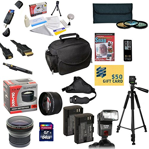 Canon Battery Life (47th Street Photo Pro Shooter Accessory Kit for the Canon 6D, 60D, 60Da, 70D & 5D Mark III - Kit Includes: 64GB High-Speed SDXC Card + Card Reader + 2 Extended Life Batteries + Travel Charger + 58mm 0.43x HD2 Wide Angle Macro Fisheye Lens + 58mm 2.2x HD2 AF Telephoto Lens + 58mm 3 Piece Pro Filter Kit (UV, CPL, FLD Lens) + HDMI Cable + Padded Gadget Bag + Professional 60
