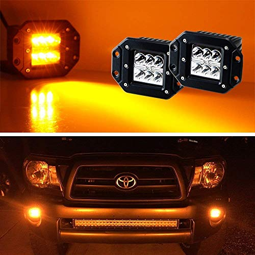 iJDMTOY (2) Amber Yellow 3-Inch Flush Mount 24W CREE LED Pod Lights For Truck Jeep Off-Road ATV 4WD 4x4, etc ()