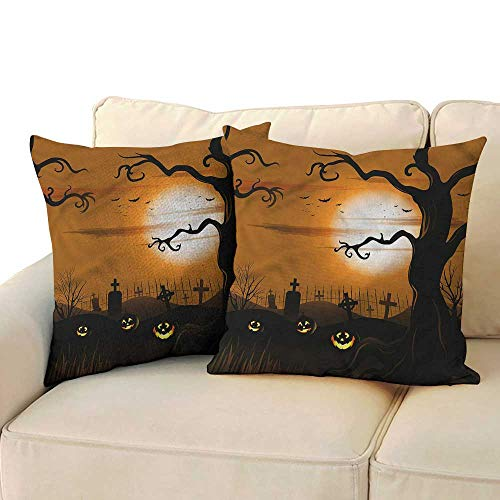 Godves Double-Sided Printing Pillowcase Halloween Scary Cemetery Soft, Breathable and Hypoallergenic 16