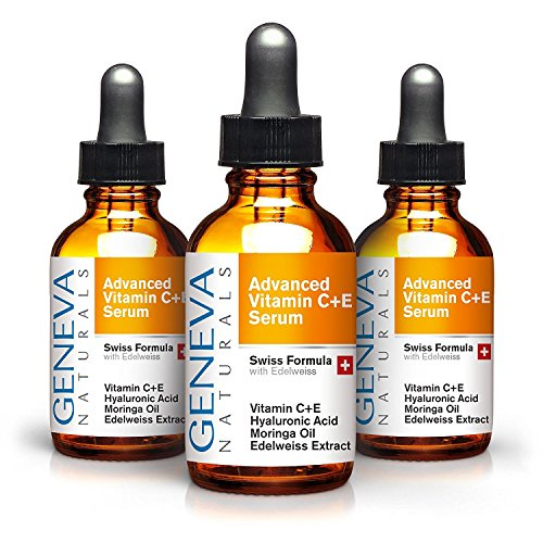 Vitamin C Serum 3-Pack - Anti Aging Swiss Skin Care Formula with Hyaluronic Acid