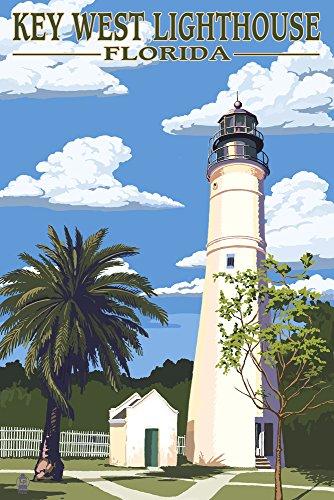 Key West Lighthouse, Florida - Day Scene (12x18 Art Print, Wall Decor Travel Poster)
