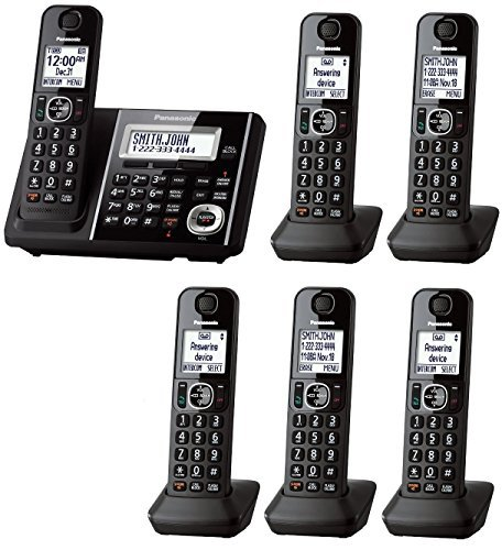 Panasonic KX-TGF345B + 1 KX-TGFA30B Handset (6 Handsets Total) DECT 6.0 Plus Cordless Phone System (KX-TGF344B + 2, KX-TGF343B + 3, KX-TGF342B + 4, KX-TGF340B + 5) (Renewed)