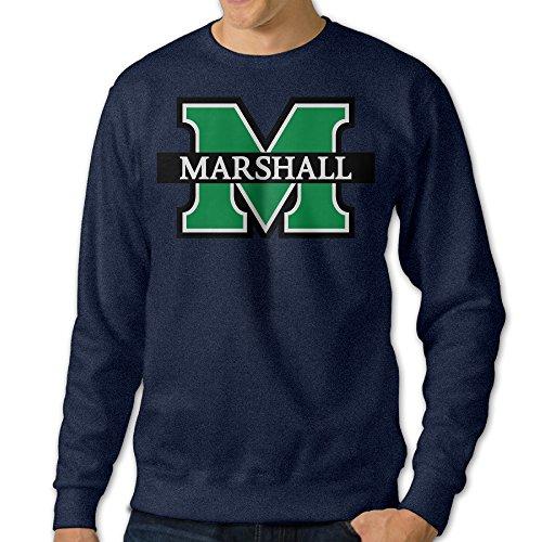 AUSIN Men's Crew Neck Sweatshirt Marshall University Navy Size S (Marshall Thundering Herd Lamp)