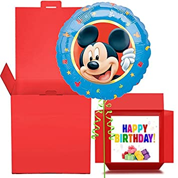 Happy Birthday Mickey Mouse Balloon In A Box Gift
