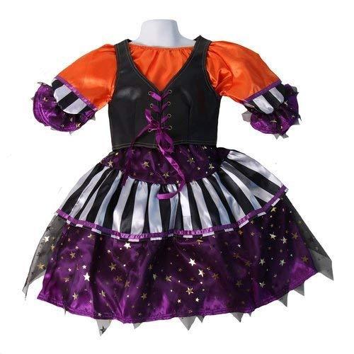 Making Believe Girls Funky Orange, Black and Purple Striped Witch Dress & Vest, Size ()