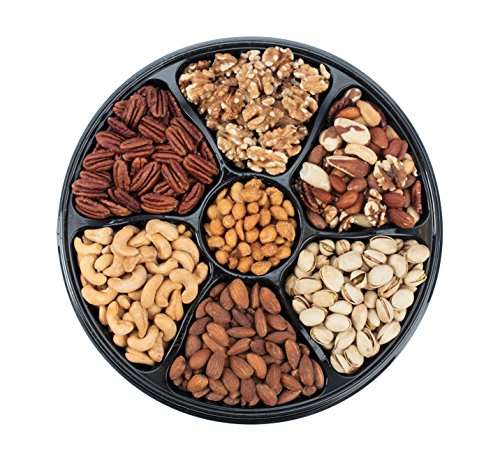 Sungood Fresh Deluxe Nut Gift Basket, 7 Section Tray Of Different Variety Of Mix Roasted Nuts.