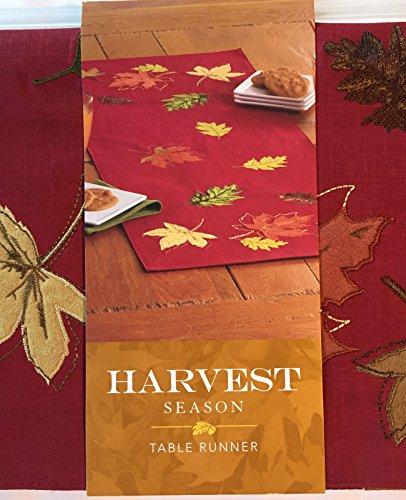 - Autumn Fall Leaves Table Runner Harvest Season Felt Appliques Maroon 13 x 36 inches