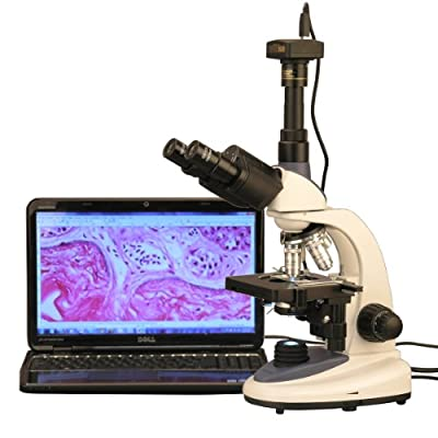 AmScope T380C-8M Digital Professional Compound Trinocular Microscope, 40X-2500X Magnification, WF10x and WF25x Eyepieces, Brightfield, LED Illumination, Abbe Condenser, Double-Layer Mechanical Stage, 85-265V Wide-Voltage Power Supply, Includes 8MP Camera