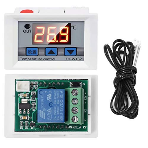 WHDTS Digital Temperature Controller Switch Module 12V DC -50℃ to +110℃ Micro Digital Thermostat Board with 1M Waterproof Sensor Probe ()