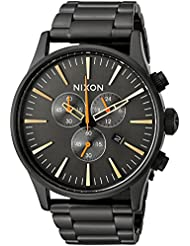 Nixon Mens Sentry Chrono Quartz Metal and Stainless Steel Watch, Color:Black (Model: A3861032-00)