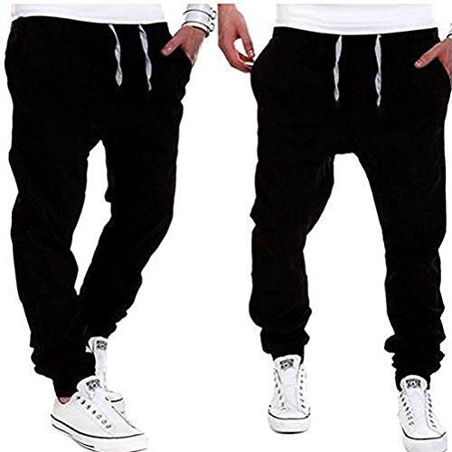 YUNY Mens Outdoor Harem Running Jogger Bottom Pants Black M