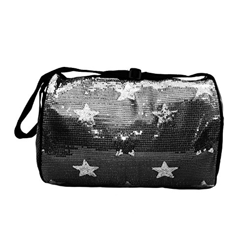 Lil Princess Girls Nylon Dance Duffle Bag with Sequin Stars , Black - Lil Zip Bag