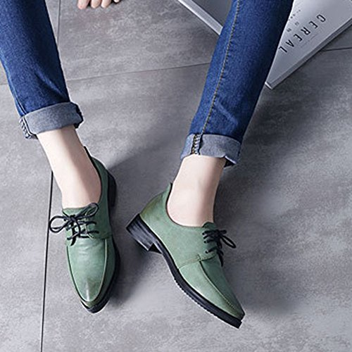 Casual Toe Classic Up Shoes Oxfords Women's Sneaker Green Lace Pointed Flat OIS8wYdq
