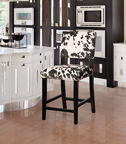 Linon Clayton Cow Print Counter Stool in Black
