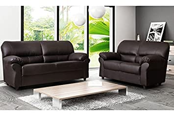 BRAND NEW CANDY 3+2 FAUX LEATHER SOFA SUITE IN BROWN by ...